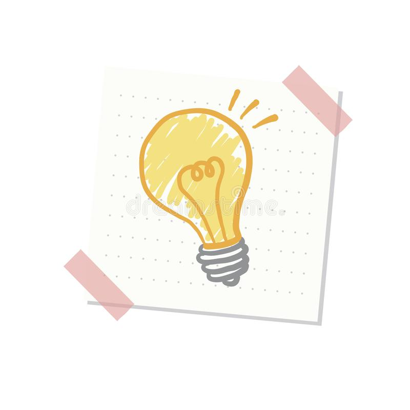 Ideas and light bulb illustration royalty free illustration