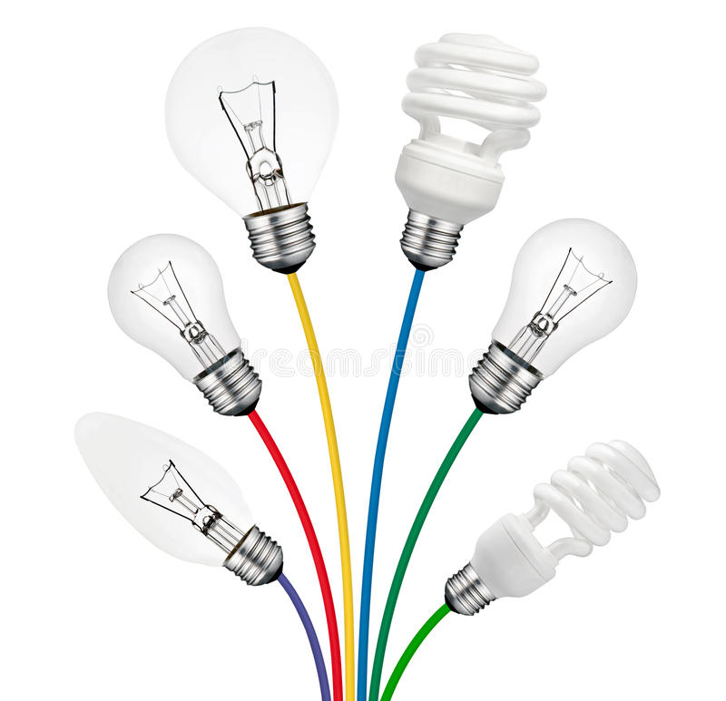 Download Ideas - Lightbulbs Attached To Colored Cables Stock Image - Image: 24403669