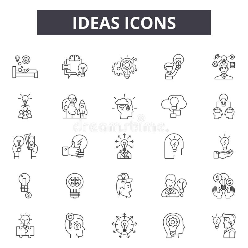 Ideas line icons, signs, vector set, outline illustration concept. Ideas line icons, signs, vector set, outline concept illustration royalty free illustration