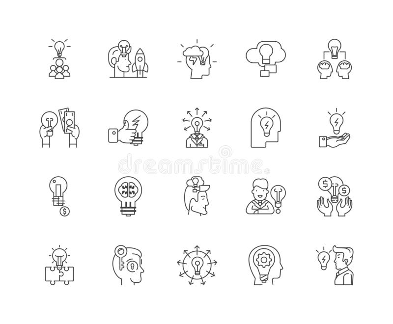Ideas line icons, signs, vector set, outline illustration concept. Ideas line icons, linear signs, vector set, outline concept illustration royalty free illustration