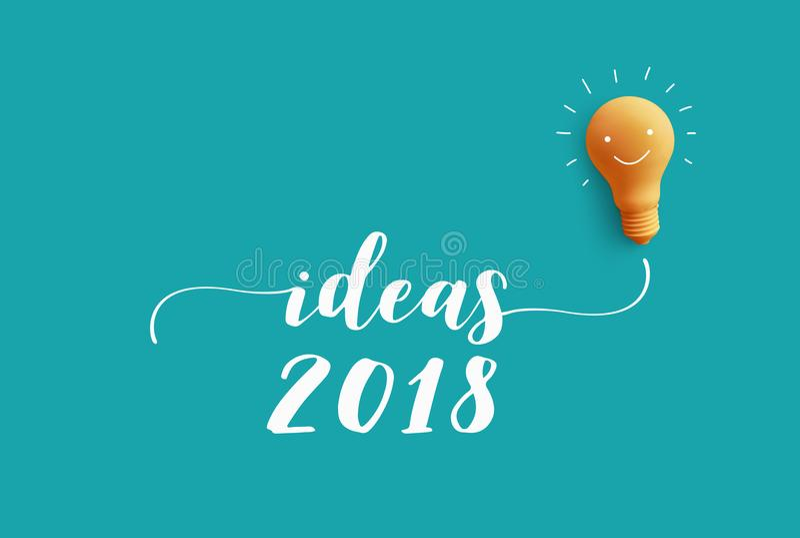 IDEAS 2018 message with light bulb.business creativity idea vector illustration