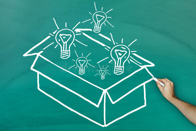 Ideas out of the box concept. On green blackboard stock photography