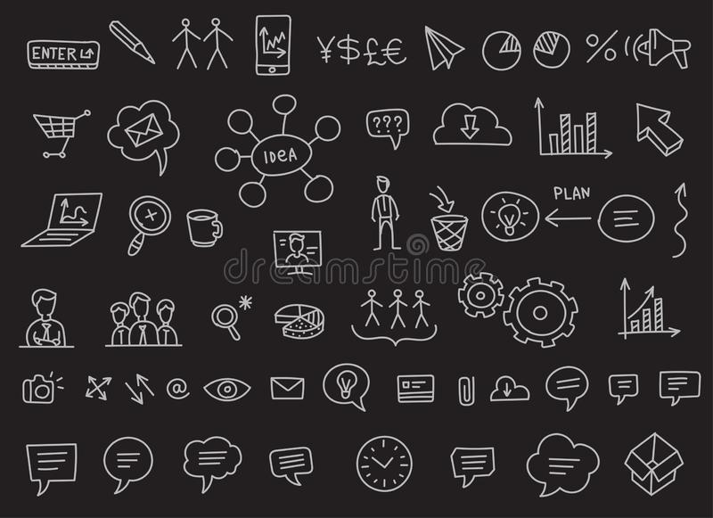 Ideas and processes. School of Business icons sketch set outline line drawing by hand. Hand drawn collection vector. On. A black background stock clipart royalty free illustration
