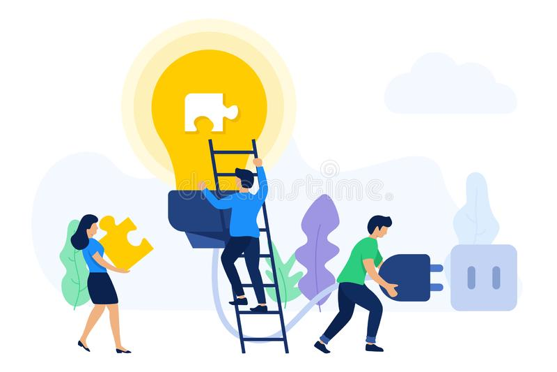 Ideas que buscan y soluciones del trabajo en equipo creativo stock de ilustración