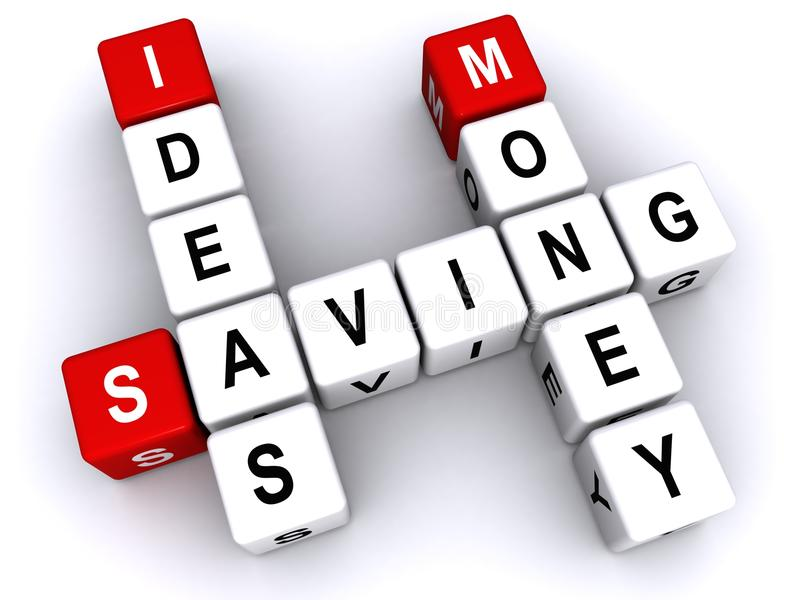 Ideas on saving money. Text 'ideas saving money' inscribed in uppercase letters on small cubes and arranged crossword style with common letters 'a and n', white royalty free illustration