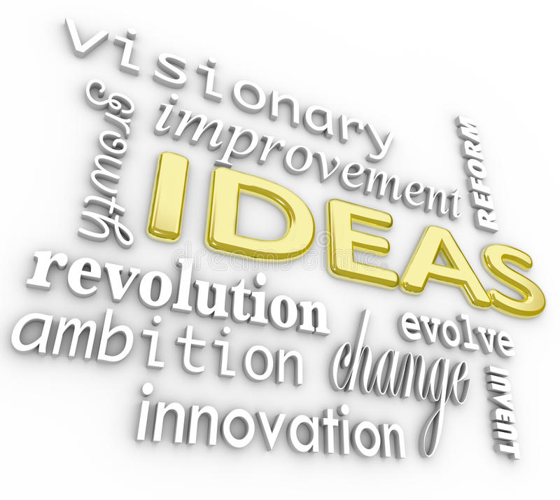 Ideas Word Background - Innovation Vision 3D Words royalty free illustration