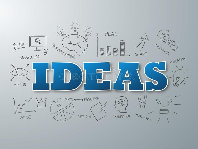 Ideas blue word on background. Vector illustration. Ideas blue word on gray background. Vector illustration royalty free illustration