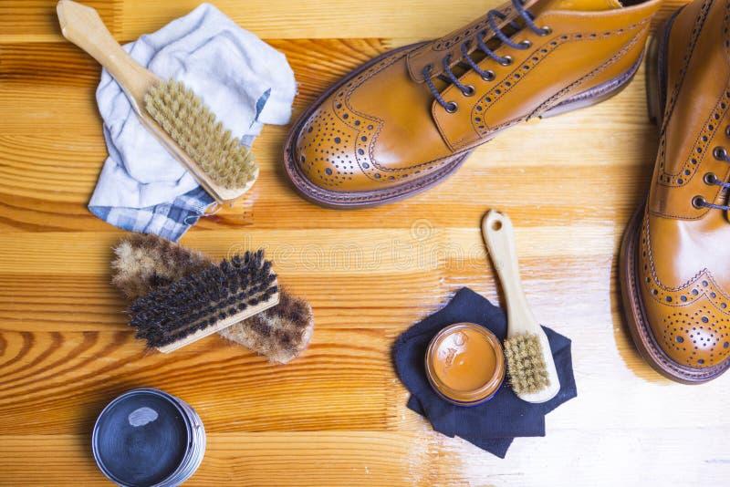 Ideas y conceptos del calzado Primer de Tan Brogue Leat superior imágenes de archivo libres de regalías