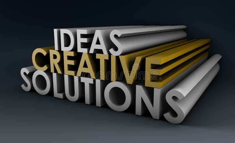 Ideas y soluciones creativas stock de ilustración