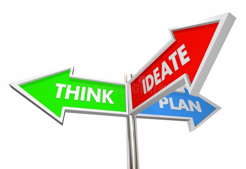 Ideate pensent des signes de plan illustration stock