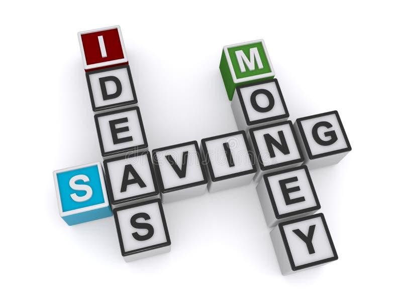 Ideeën die het blok van het geldwoord besparen stock illustratie