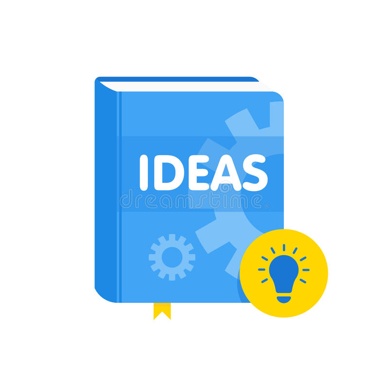 Ideeënboek met lightbulb vlak pictogram Online bedrijfsonderwijsillustratie stock illustratie