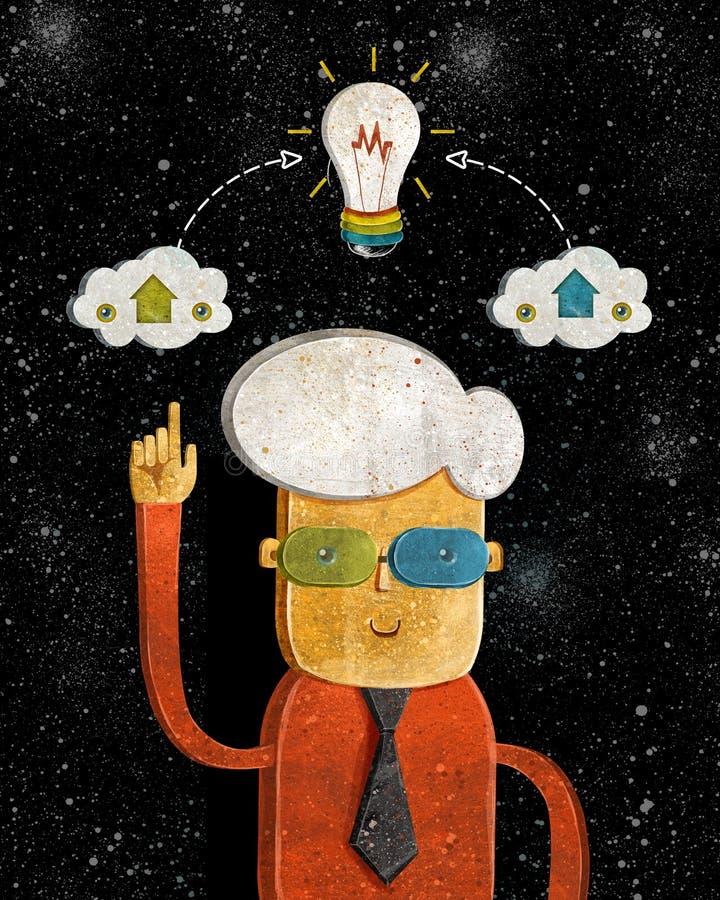 Idee Begriffsdesign mit Mann und Glühlampe für Teamwork und Personalwesen, Wissen und Erfahrung Lächelnde Lampe lizenzfreie abbildung