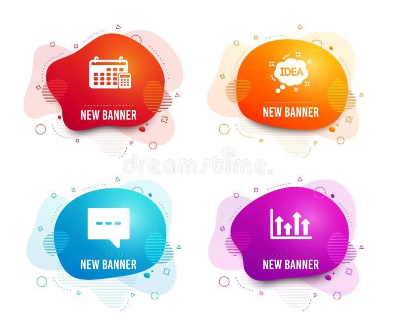 Idee, Blog en Kalenderpictogrammen Hoger pijlenteken Creatief bericht, Praatjebericht, Calculatorapparaat Vector royalty-vrije illustratie