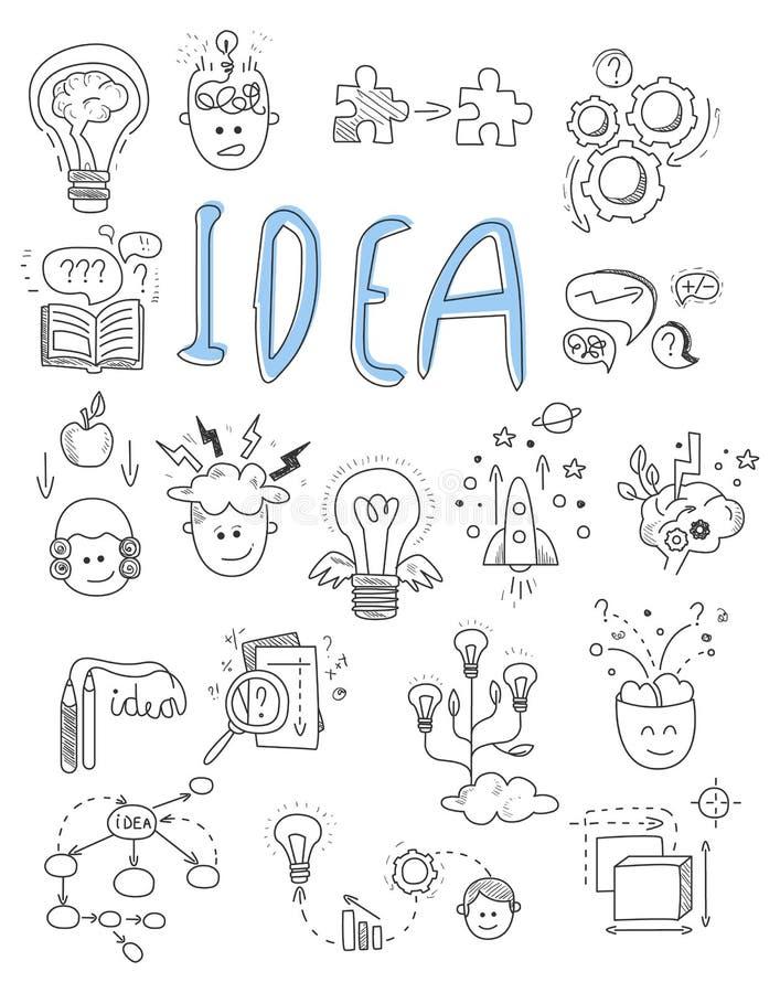 Idee, brainstormingspictogrammen in de vector van de Krabbelstijl royalty-vrije illustratie