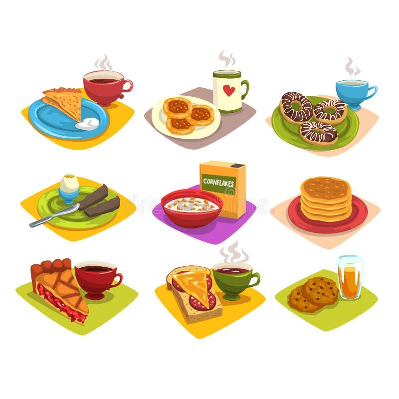 Idee classiche della prima colazione fissate Illustrazione del fumetto con i pancake e caffè, guarnizioni di gomma piuma, uovo so royalty illustrazione gratis