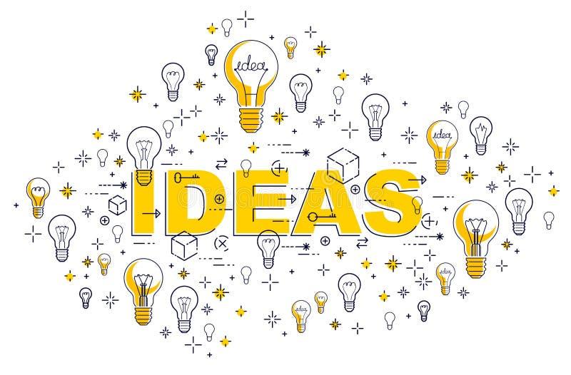 Idee concetto, progettazione delle lampadine di vettore della composizione nelle lampade della lampadina illustrazione di stock
