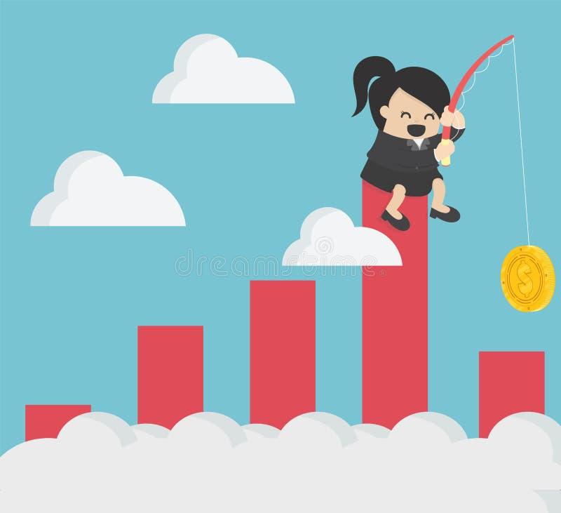 Idee del grafico delle azione dei contanti di pesca della donna di affari royalty illustrazione gratis