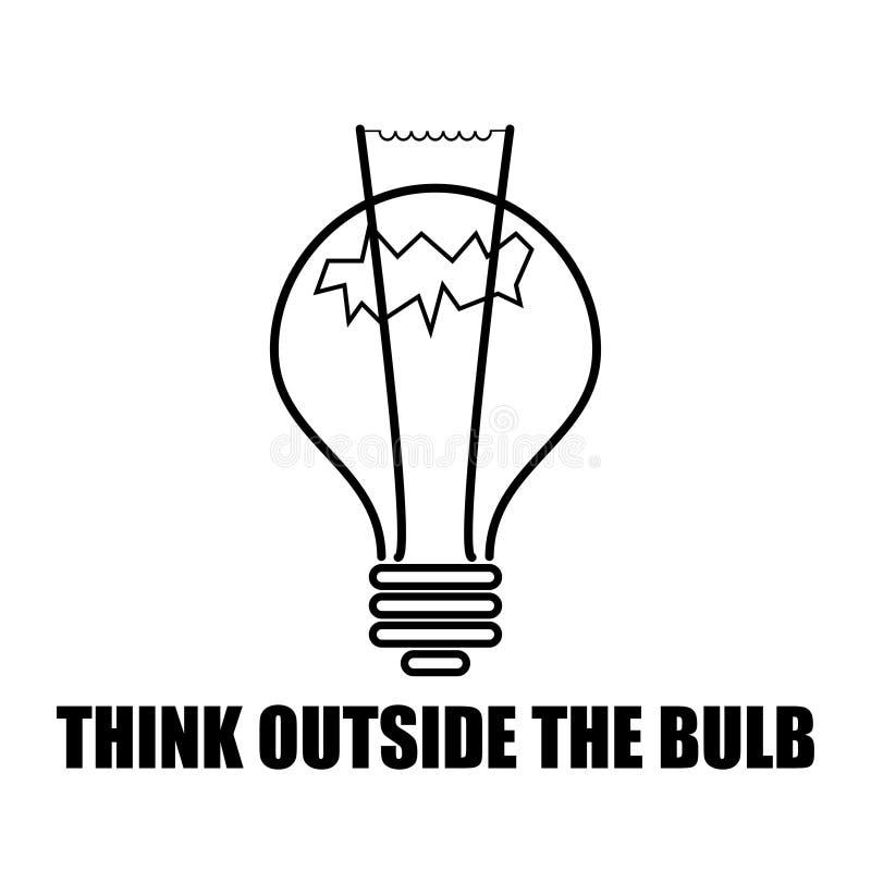 Idee denken außerhalb des Birnenschwarzweiß lizenzfreie abbildung