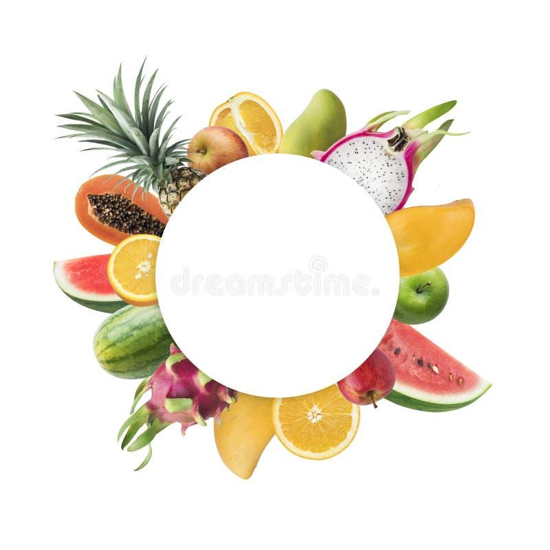 Idee di concetti di festival del mercato di frutti con lo spazio bianco della copia immagine stock libera da diritti