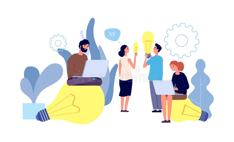 Idee diverse Le persone hanno idee concetto vettoriale Innovazione, lavoro di squadra, avvio Caratteri dei giovani con un gigante illustrazione vettoriale