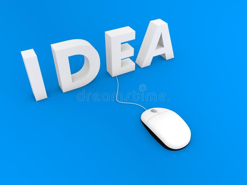 Idee en computermuis op een blauwe achtergrond vector illustratie