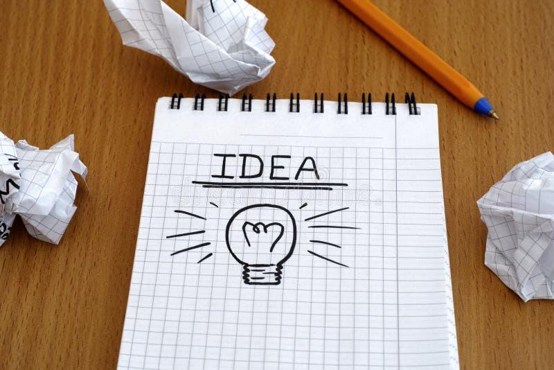 Idee en gloeilamp stock afbeeldingen