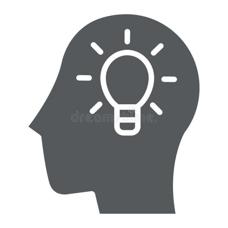 Idee glyph pictogram, creatief en innovatie, hoofd met lampteken, vectorafbeeldingen, een stevig patroon op een witte achtergrond royalty-vrije illustratie