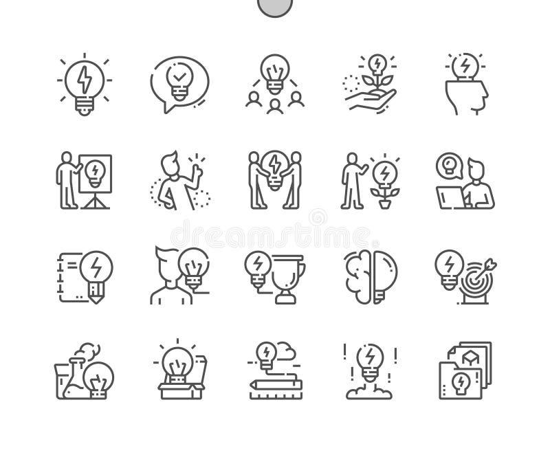 Idee goed-Bewerkte Vector Dunne Lijnpictogrammen royalty-vrije illustratie