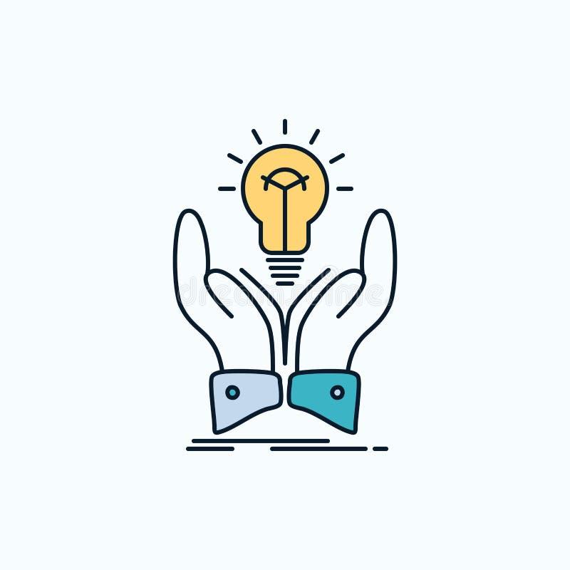 Idee, Ideen, kreativ, Anteil, Handflache Ikone r Vektor lizenzfreie abbildung