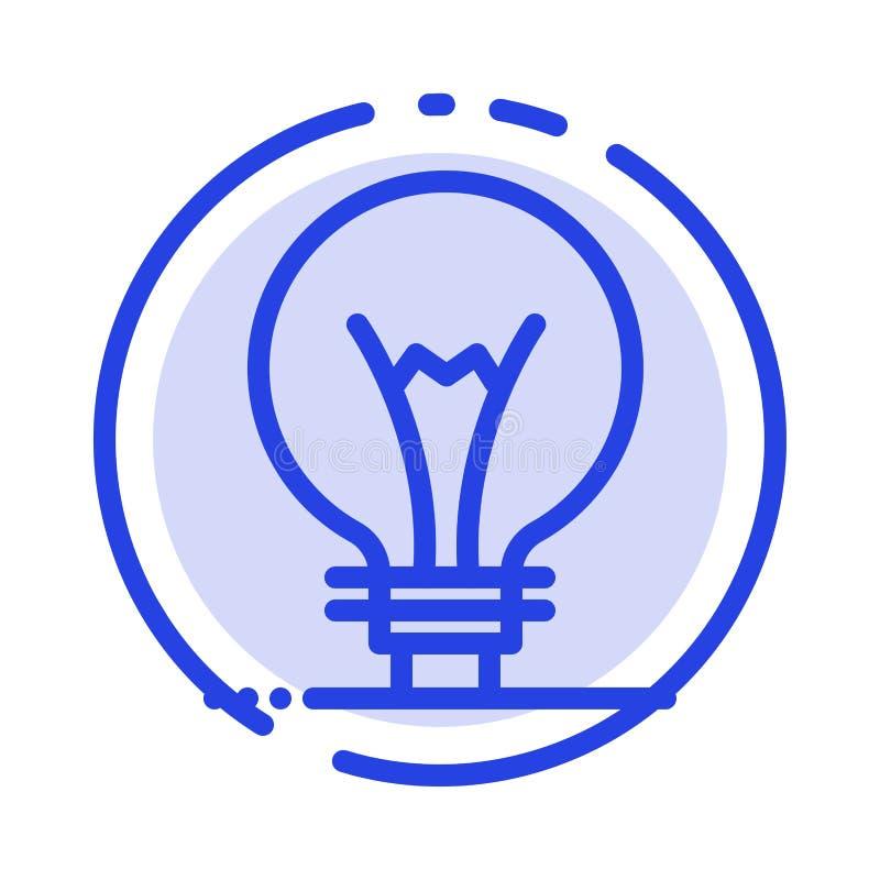 Idee, Innovatie, Uitvinding, de Lijnpictogram van de gloeilampen Blauw Gestippelde Lijn royalty-vrije illustratie