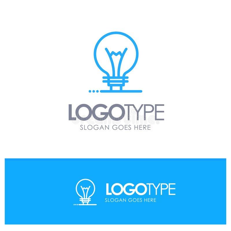 Idee, Innovatie, Uitvinding, Embleem van het gloeilampen het Blauwe overzicht met plaats voor tagline vector illustratie