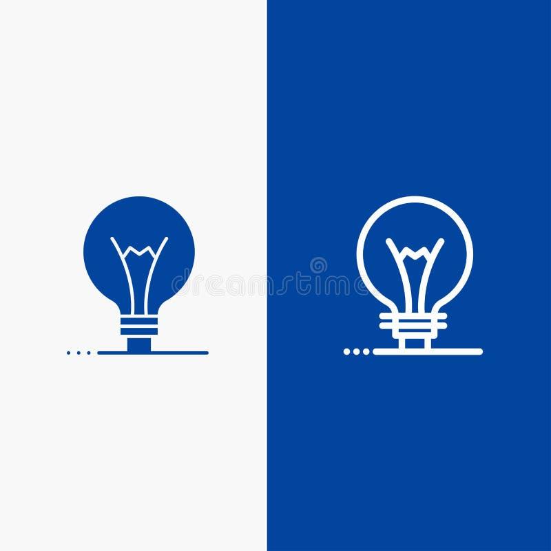Idee, Innovatie, Uitvinding, gloeilampenlijn en Lijn van de het pictogram Blauwe banner van Glyph de Stevige en Stevige het picto royalty-vrije illustratie