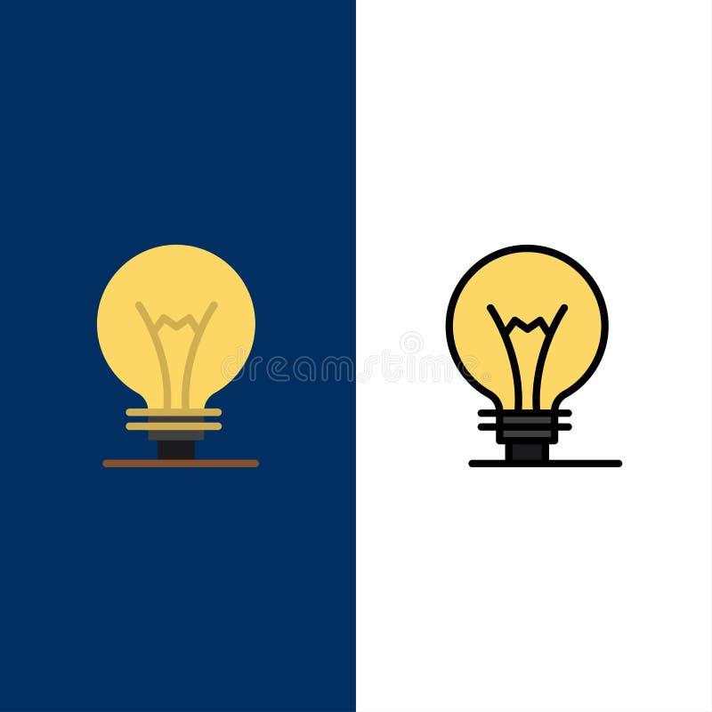 Idee, Innovatie, Uitvinding, gloeilampenpictogrammen Vlak en Lijn vulde Pictogram Vastgestelde Vector Blauwe Achtergrond royalty-vrije illustratie