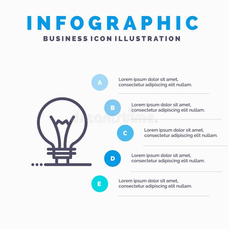 Idee, Innovatie, Uitvinding, het pictogram van de gloeilampenlijn met infographicsachtergrond van de 5 stappenpresentatie royalty-vrije illustratie