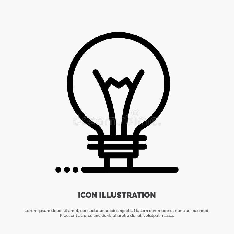 Idee, Innovatie, Uitvinding, het Pictogramvector van de gloeilampenlijn stock illustratie