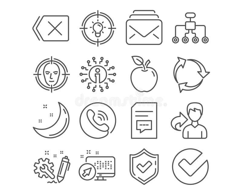 Idee, Post en Commentarenpictogrammen Het gezicht ontdekt, Herstructurerend en verwijdert tekens Vector stock illustratie