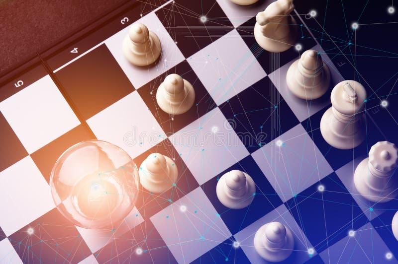 Idee van Bedrijfsstrategieconcept Slimme het denken ideezaken met het spel van de schaakraad 3 stock foto