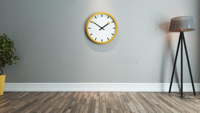 Idee van het woonkamer het binnenlandse ontwerp met groot geel horloge royalty-vrije illustratie