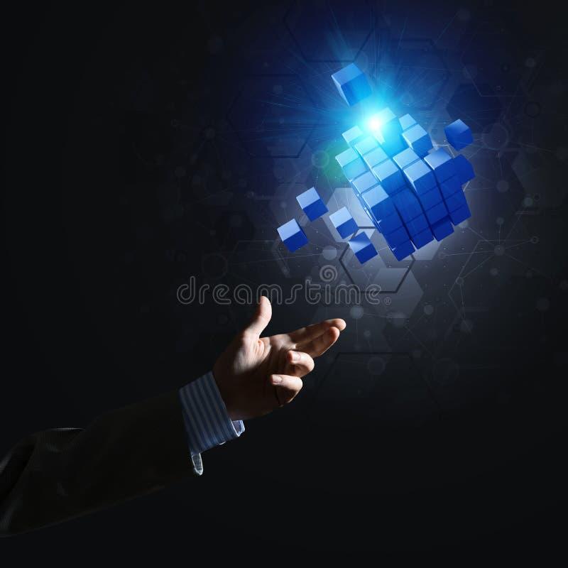Idee von neuen Technologien und Integration stellten sich durch Würfelzahl dar lizenzfreie stockbilder
