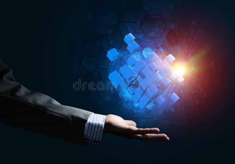 Idee von neuen Technologien und Integration stellten sich durch Würfelzahl dar lizenzfreie stockfotografie