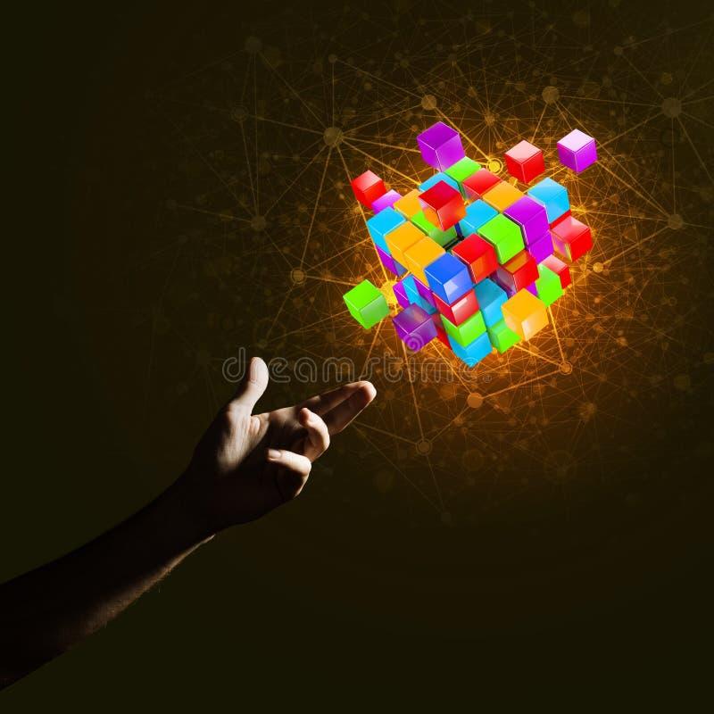 Idee von neuen Technologien und Integration stellten sich durch Würfelzahl dar stockbilder