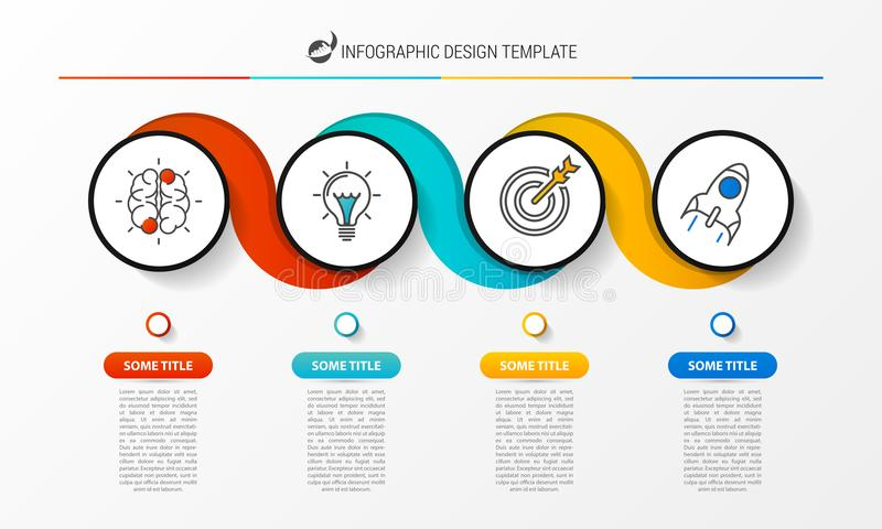 Idee, Zeitachse mit Pfeil anzuzeigen Kreatives Konzept mit 4 Schritten vektor abbildung