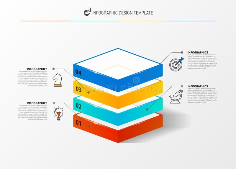 Idee, Zeitachse mit Pfeil anzuzeigen Kreatives Konzept mit 4 Schritten lizenzfreie abbildung