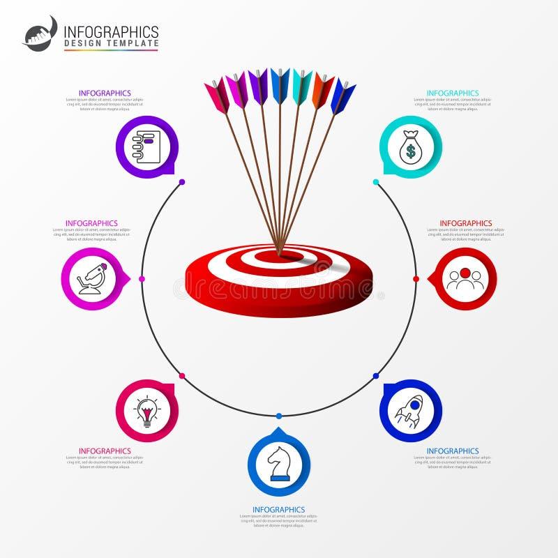 Idee, Zeitachse mit Pfeil anzuzeigen Kreatives Konzept mit 7 Schritten stock abbildung