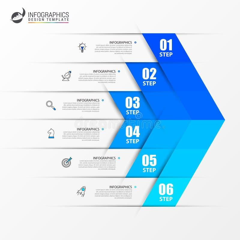Idee, Zeitachse mit Pfeil anzuzeigen Kreatives Konzept mit 6 Schritten Kann für Arbeitsflussplan, Diagramm, Fahne, webdesign verw lizenzfreie abbildung