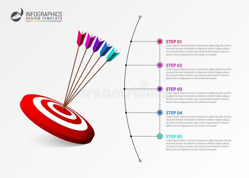 Idee, Zeitachse mit Pfeil anzuzeigen Kreatives Konzept mit 5 Schritten vektor abbildung