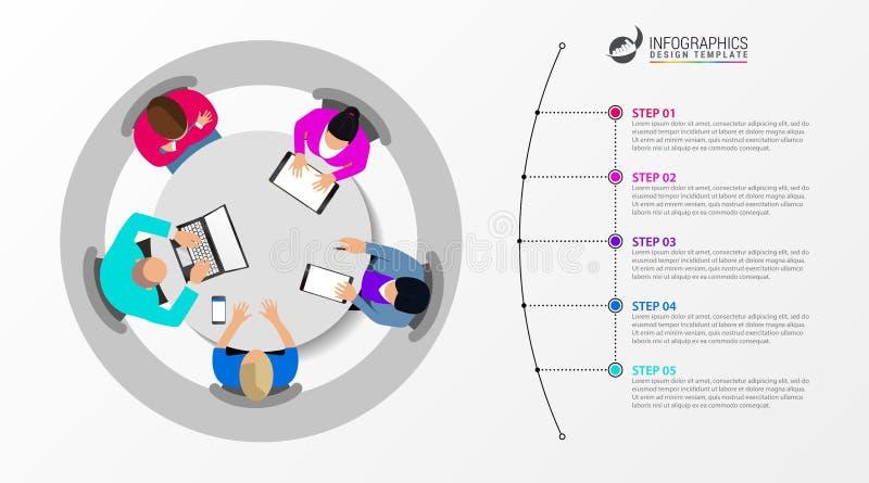 Idee, Zeitachse mit Pfeil anzuzeigen Kreatives Konzept mit 5 Schritten lizenzfreie abbildung