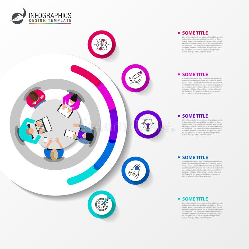Idee, Zeitachse mit Pfeil anzuzeigen Kreatives Konzept mit 5 Schritten stock abbildung