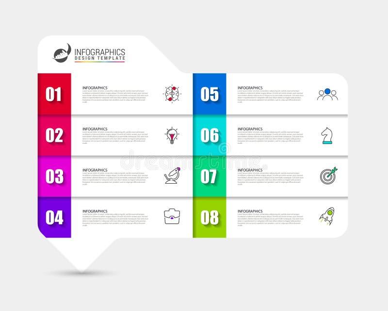 Idee, Zeitachse mit Pfeil anzuzeigen Kreatives Konzept mit 8 Schritten lizenzfreie abbildung